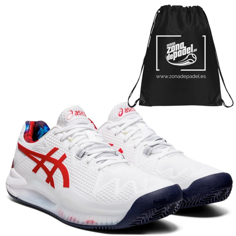 Asics Gel Resolution 8 Clay LE White Classic Red