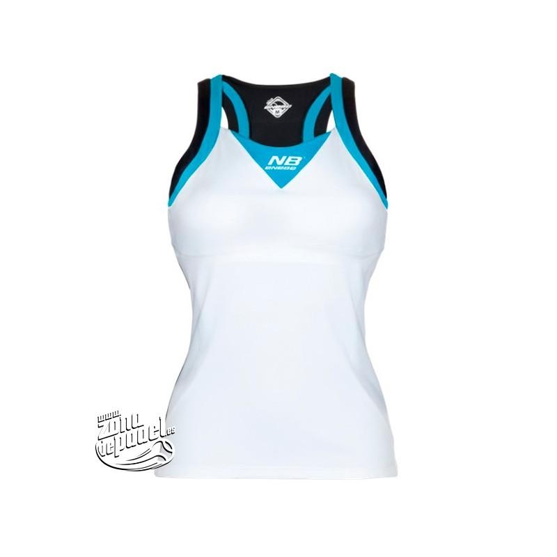 Camiseta de padel para mujer de Enebe Blanca Azul