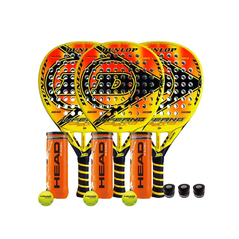 TriPack Dunlop Inferno Soft + Bolas y overgrips