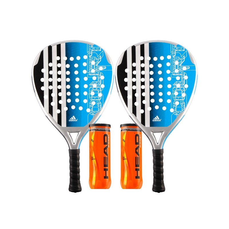 Pack 2 Palas Adidas Power Court Azul + Bolas