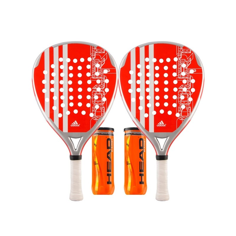 Pack 2 Palas Adidas Power Court Roja + Bolas