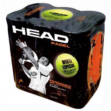 Pack 6 Botes pelotas Head Padel
