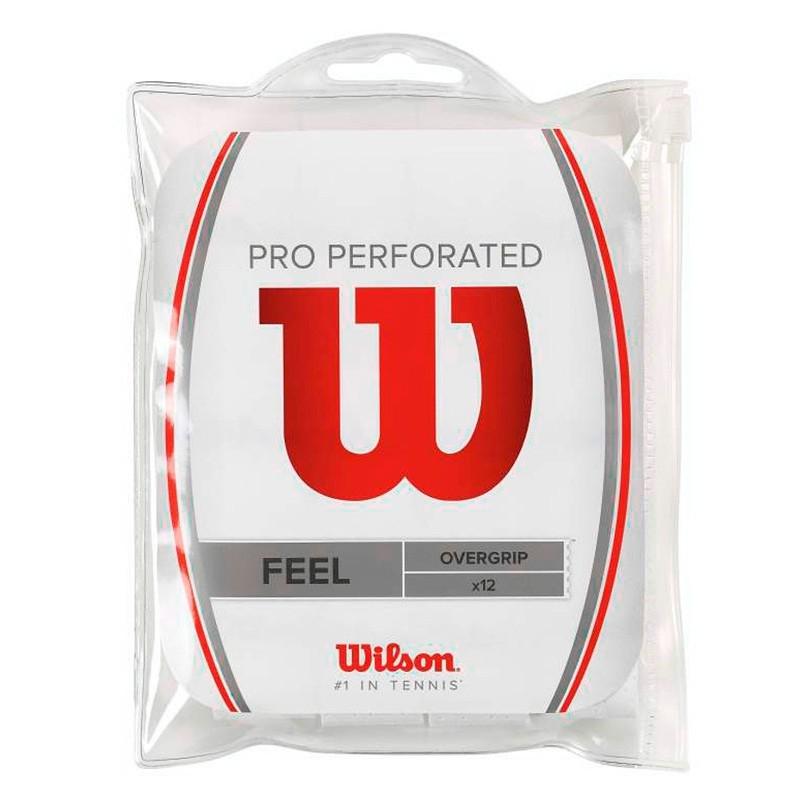 Bolsa Wilson 12 Overgrips Feel Microperforados Blancos
