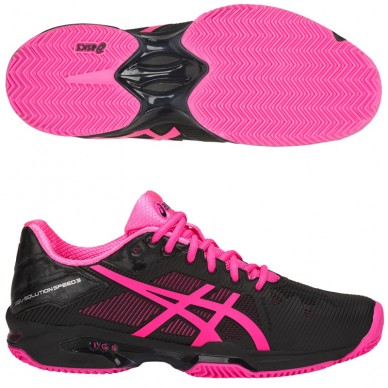 Zapatillas Gel Solution Speed 3 Clay Black / Hot Pink 2018