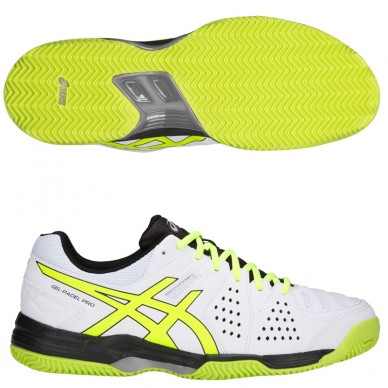 Zapatillas Gel Padel Pro 3 SG White / Flash Yellow 2018