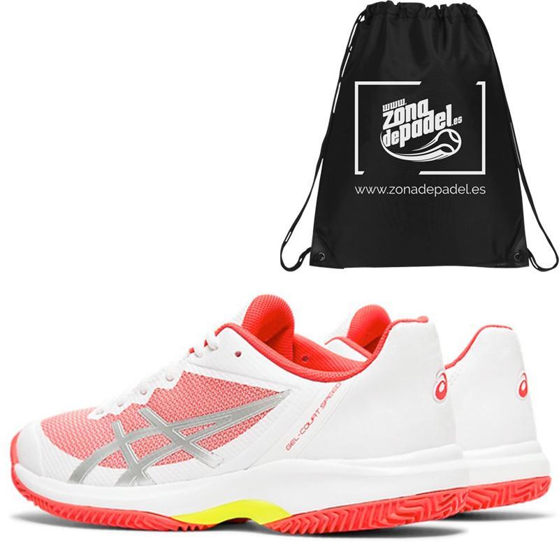 Zapatillas gel court speed clay white laser pink 2019