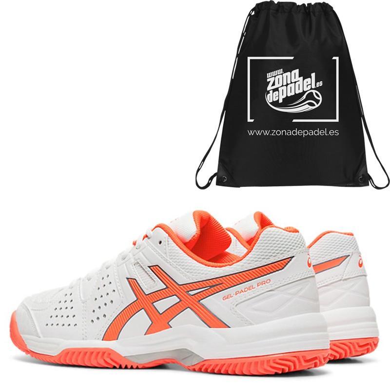 zapatillas Asics Gel Padel Pro 3 SG Blancas y Coral Mujer