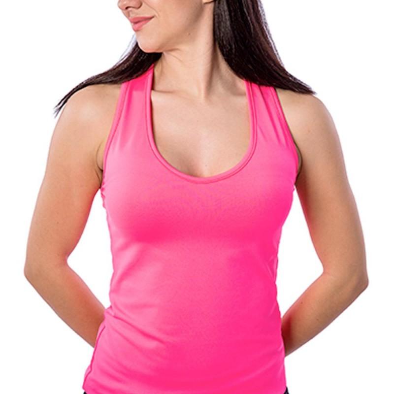 Camiseta tirantes BB Basica Rosa Fluor Pico