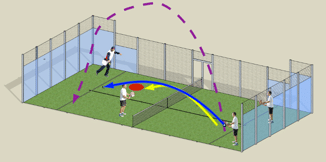 Globo en pádel, la pelota pasa por encima del oponente